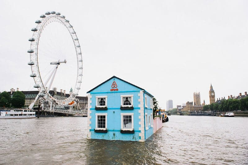 airbnb floating house river thames london eye