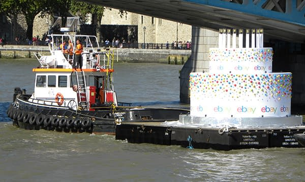 ebay floating birthday cake river thames