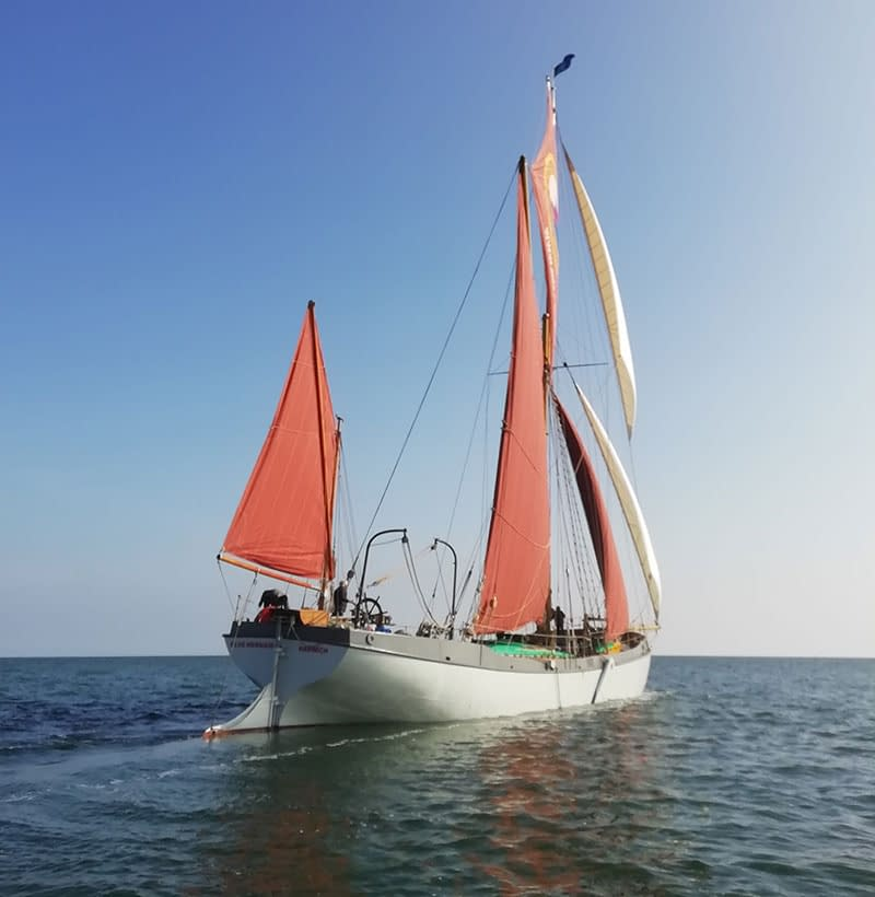 sea change blue mermaid sailing barge