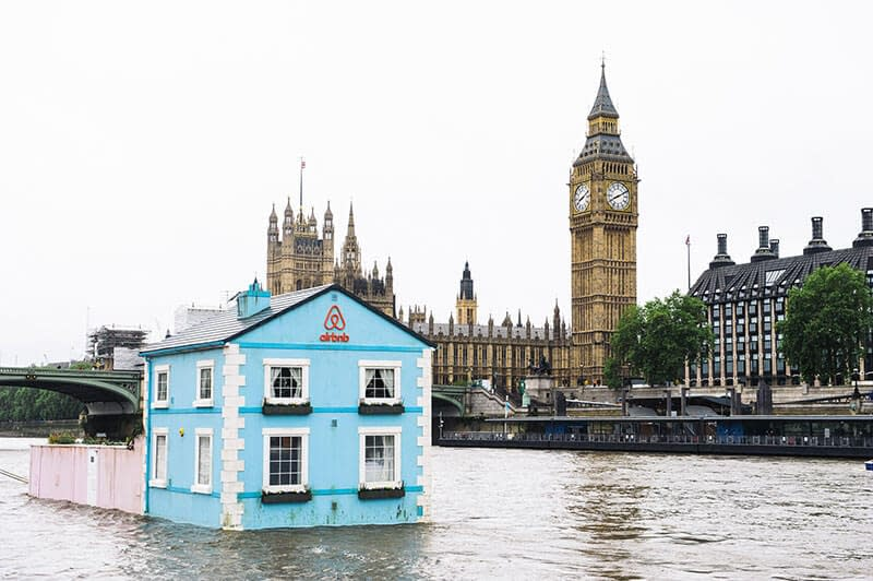 airbnb floating house river thames big ben
