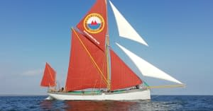 blue mermaid sailing barge