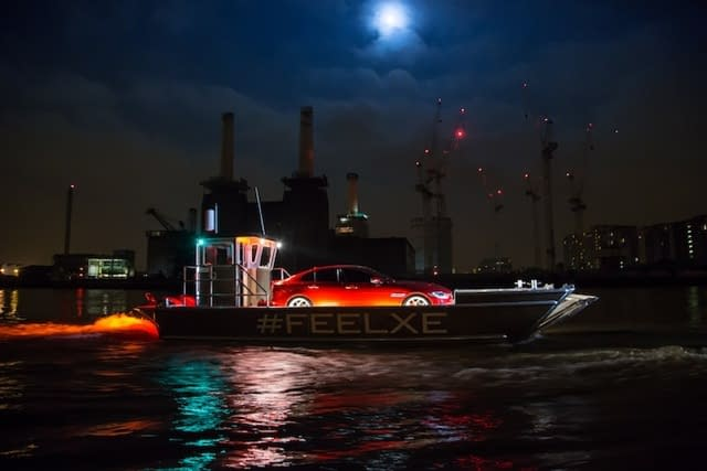 jaguar xe launch river thames