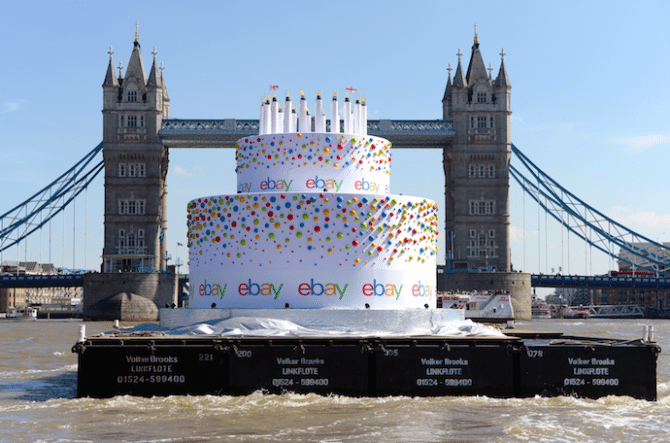 ebay floating birthday cake tower bridge thames