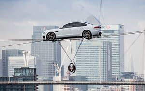 jaguar xf thames high wire crossing